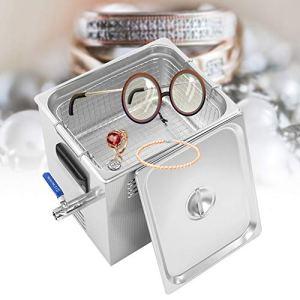 Nettoyeur à ultrasons pour bijoux, nettoyeur à ultrasons en acier inoxydable 22L avec chauffe-minuterie numérique LED pour montre à lunettes(mèche)