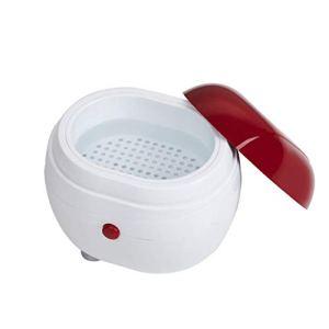 Portable Machine À Laver À Ultrasons Ménage Bijoux Lentilles Montres Dentiers Machine De Nettoyage Machine À Laver Cleaner Boîte De Nettoyage (Rouge et blanc)