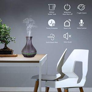 Alexa Diffuseur d'Huiles Essentielles WiFi, Maxcio 400ml Humidificateur d'Air Smart Diffuseur Parfum avec Lumières Colorées Compatible avec Alexa et Google Home, Timer et Contrôle à Distance par L'APP