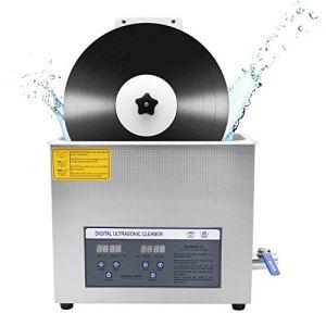 CGOLDENWALL nettoyeur à ultrasons pour disques vinyle 6L 180W minuterie 30min rotative automatique pour enregistrement CE 7inch/12inch sans dommage (machine+support)