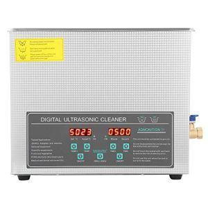 10L Nettoyeur à ultrasons numérique,Machine de nettoyage de bijoux,avec boîtier en acier inoxydable, réservoir d'eau et couvercle,Double fréquence réglable,Commande de minuterie numérique