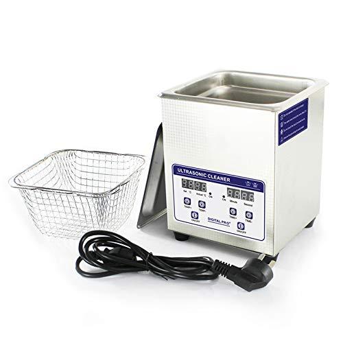 Pillows-RJF Nettoyeur à ultrasons en acier inoxydable, réservoir numérique, mesure du temps de 0 à 30 minutes, pour le nettoyage des outils à ongles, pour bijoux, 2 L