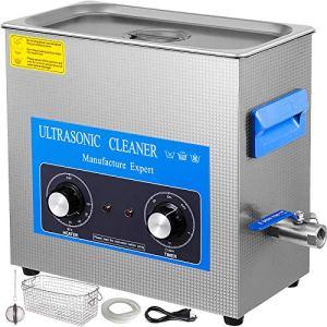 VEVOR Nettoyeur à Ultrasons avec Minuterie de Chauffage 6,5L, Professionnel Nettoyeur à Ultrasons 220V, Nettoyeur Ultrasons en Acier Inoxydable 40 kHz pour Nettoyage des Bagues de Lunettes Instrument