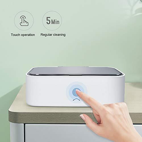 Yushu Nettoyant Bijoux à ultrasons, 900 ML Touch Control électrique Mini Machine Nettoyeur à ultrasons for Le Nettoyage des Dents de Diamant d'or Bague en Argent Montre Lunettes (Color : White)