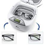 LifeBasis Nettoyeur à ultrasons 850 ml pour bijoux, bain à ultrasons avec panier support pour montre, CD DVD pour polir bijoux, pendentifs, bagues, lunettes, prothèses et pièces métalliques