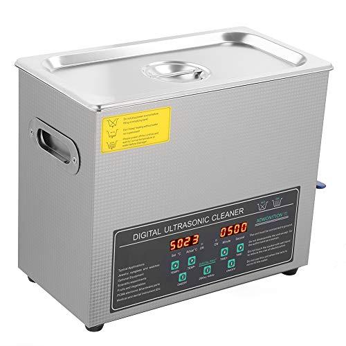 Nettoyeur à ultrasons numérique 6L 180W, Nettoyeur à ultrasons en Acier Inoxydable avec Grande minuterie numérique et Affichage de la température, radiateurs pour Lunettes, Bijoux, pièces de Monnaie,