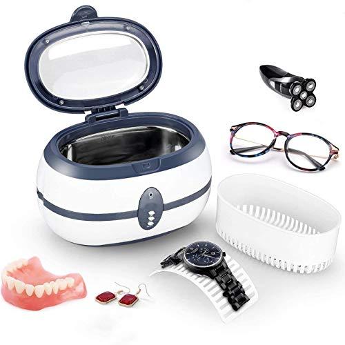 VISZC Nettoyeur de lunettes, nettoyeur à ultrasons, 600 ml, nettoyant pour bijoux, bijoux, bijoux, montres, pièces de monnaie, dentiers