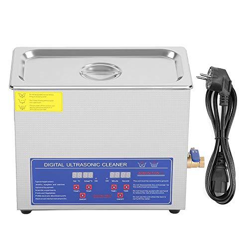 Greensen Nettoyeur à ultrasons numérique 6L minuterie numérique Nettoyeur à ultrasons de Nettoyage en Acier Inoxydable pour Nettoyer Les Anneaux de Lunettes Prise UE ultrasonique 220V