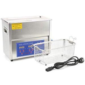 Walfront MH-031X nettoyeur à ultrasons Machine de nettoyage à ultrasons acier inoxydable 6L réservoir Ultra sonique bain nettoyage chauffage minuterie affichage numérique(EU Plug AC200-240V)