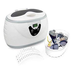 XXND Nettoyeur à ultrasons Portable, 600ml ultrasons Nettoyeur de pièces Professionnel Nettoyeur à ultrasons de Bijoux avec minuterie numérique 1118 (Color : White)
