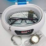 XXND Nettoyeur à ultrasons Professionnel, 600ML minuterie numérique étanche Antibruit Instruments Propres 35W- for Bijoux Montre Lunettes dentier Watchband 1118 (Color : Blue)