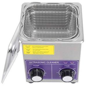Nettoyeur à ultrasons Machine de réservoir de nettoyage chauffée industrielle en acier inoxydable avec panier Prise EU(2L)