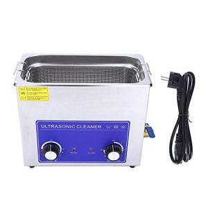 Nettoyeur à ultrasons Machine de réservoir de nettoyage chauffée industrielle en acier inoxydable avec panier Prise EU(6L)