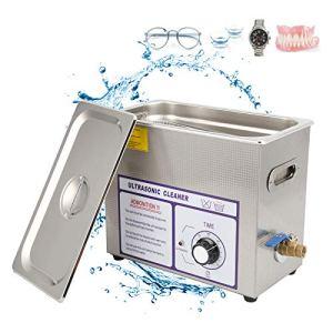 Cikonielf Nettoyeur à ultrasons professionnel 6 L pour le nettoyage à ultrasons 180 W Nettoyant à ultrasons en acier inoxydable 17,8 x 32,5 x 27 cm (220 V)