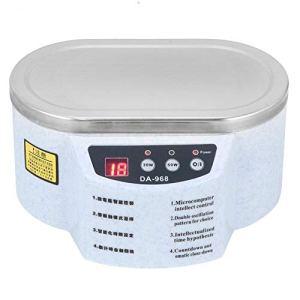 Mini nettoyeur à ultrasons, Machine de nettoyage à ultrasons professionnelle pour nettoyer les lunettes, les montres, les bagues, les pièces de monnaie, les colliers 30W + 50W(Prise UE)