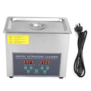 Nettoyeur à ultrasons en acier inoxydable, machine à ultrasons numérique professionnelle avec minuterie et panier de nettoyage pour le nettoyage des montres bijoux dentaires lunettes carburateur