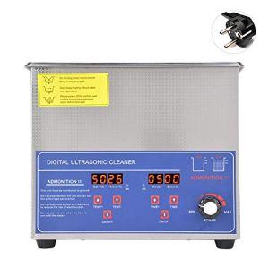 Nettoyeur à ultrasons numérique 3L, outil de nettoyage à ultrasons réglable en température de puissance industrielle, fournitures de nettoyage de laboratoire à 40 kHz((EU Plug 220V)