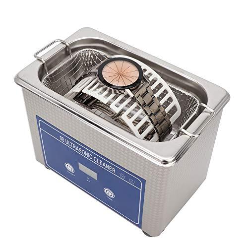 Dispositif de Nettoyage à Ultrasons, Nettoyeur à Ultrasons en Acier Inoxydable 800 Ml, Machine de Nettoyage de Bijoux, Prothèses Dentaires de Lentille de Laveuse de Lunettes à Ultrasons