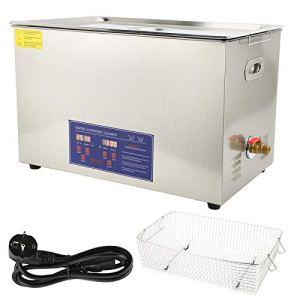 Nettoyeur à Ultrasons 30L Rondelle à Ultrasons Numérique Nettoyeur à Ultrasons Professionnel Machine de Chauffage en Acier Inoxydable Minuterie PS-100A(EU Plug 220V)