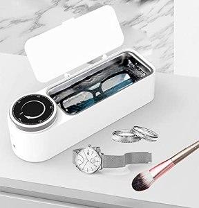 ZZX Nettoyeur à ultrasons 650 ML Nettoyeur de Bijoux 48000 Hz avec Panier de Nettoyage, réservoir en Acier Inoxydable et synchronisation de Rotation pour Lunettes, Montres et Plus (Color : White)