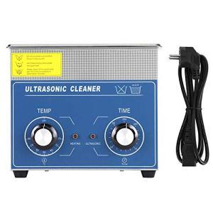 Nettoyeur à ultrasons, machine de réservoir de nettoyage chauffé par nettoyeur à ultrasons en acier inoxydable 1pc avec panier(3L)
