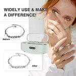 Nettoyeur ultrasonique TAISO 300 ml, Machine de nettoyage ultrasonique domestique en acier inoxydable avec 4 réglages de temps pour le nettoyage de bijoux, montres, lunettes, prothèses dentaires