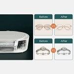 Voupuoda Mini nettoyeur de bijoux à ultrasons 400 ml Machine de nettoyage à ultrasons professionnelle portable pour lunettes Prothèses dentaires Montres Rasoirs Boucles d'oreilles Colliers Anneaux Out