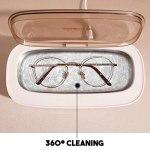Errum Nettoyeur à ultrasons pour lunettes – 300 ml – Mini appareil de nettoyage à ultrasons – Pour bijoux, rasoirs, prothèses dentaires, montres, lunettes, bagues, colliers
