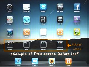 ipad Home Screen before ios7