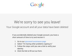 Google Account deleted