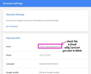 Google Account Settings page