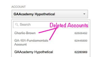 Showing deleted accounts in Accounts drop-down, Google Analytics