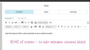 mailchimp template edit content block