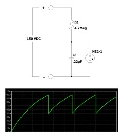 review the chart underneath the relaxation oscillator schematic the chart contains the capacitor voltage over [ 944 x 1200 Pixel ]