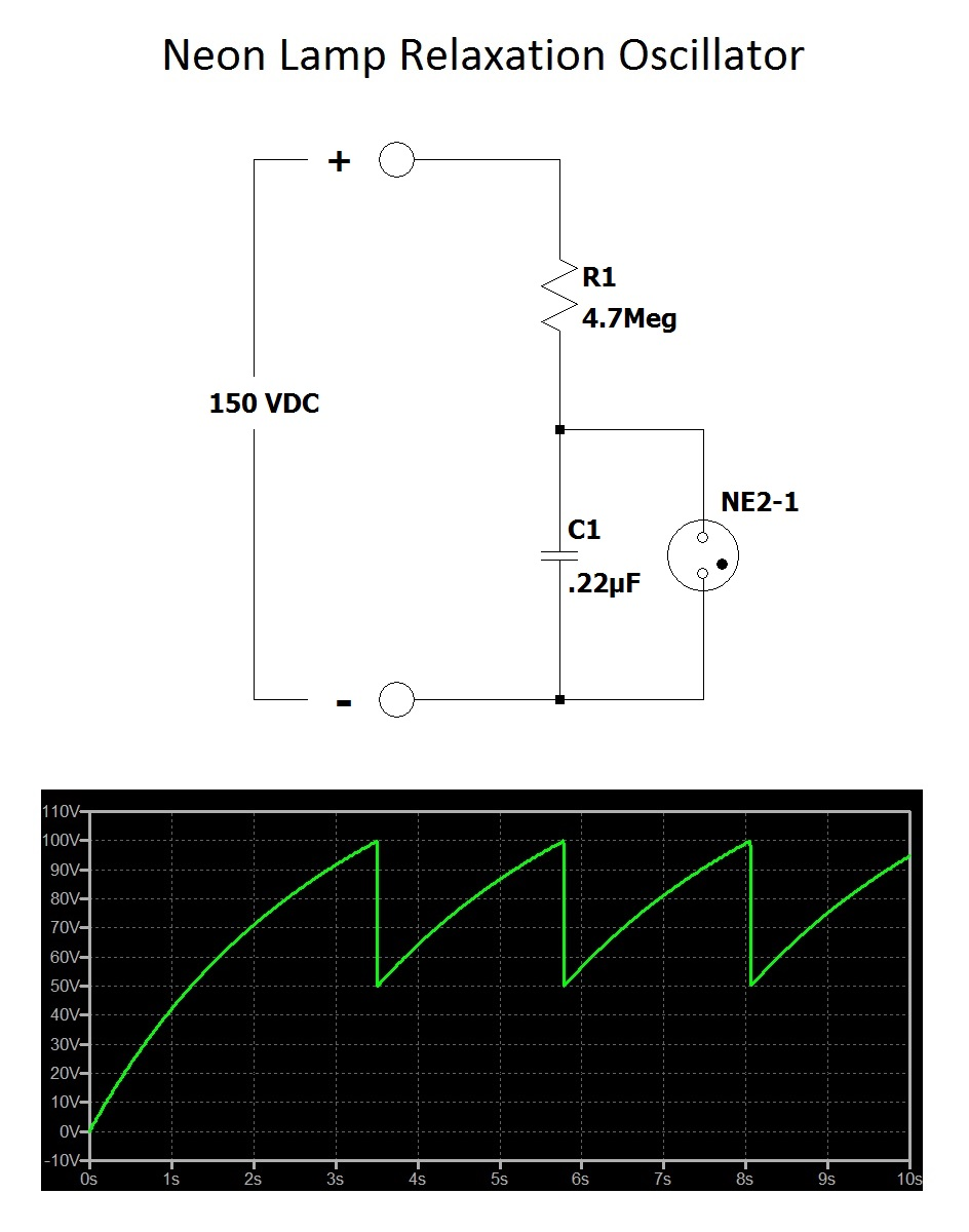 hight resolution of review the chart underneath the relaxation oscillator schematic the chart contains the capacitor voltage over