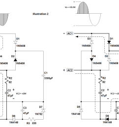 for this supply to work correctly the transformer must have a secondary voltage of at least 18v rms see illustration 2 below  [ 1634 x 1153 Pixel ]