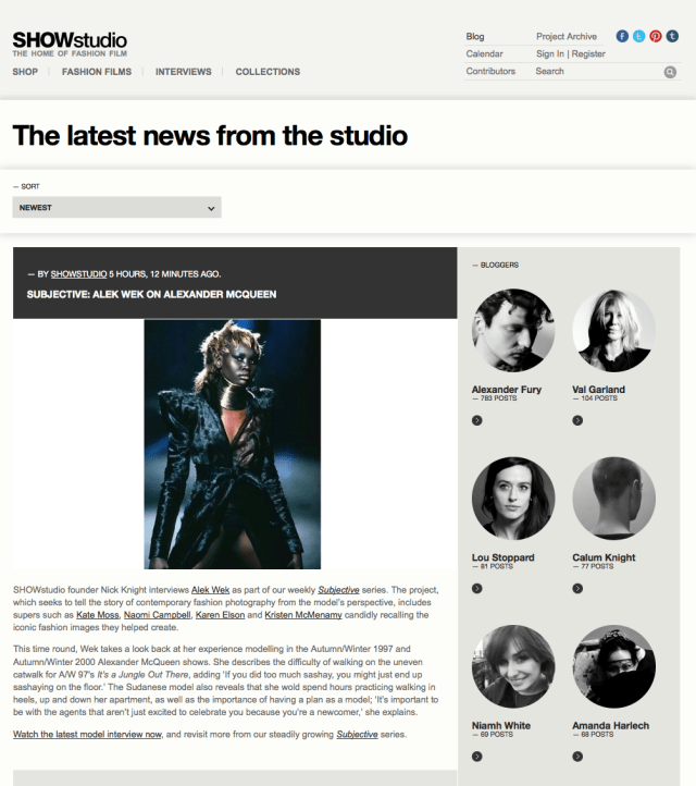 SHOWstudio Blog