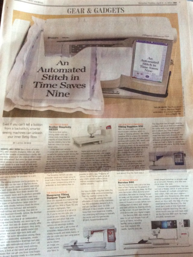 Gears and Gadgets page of WSJ