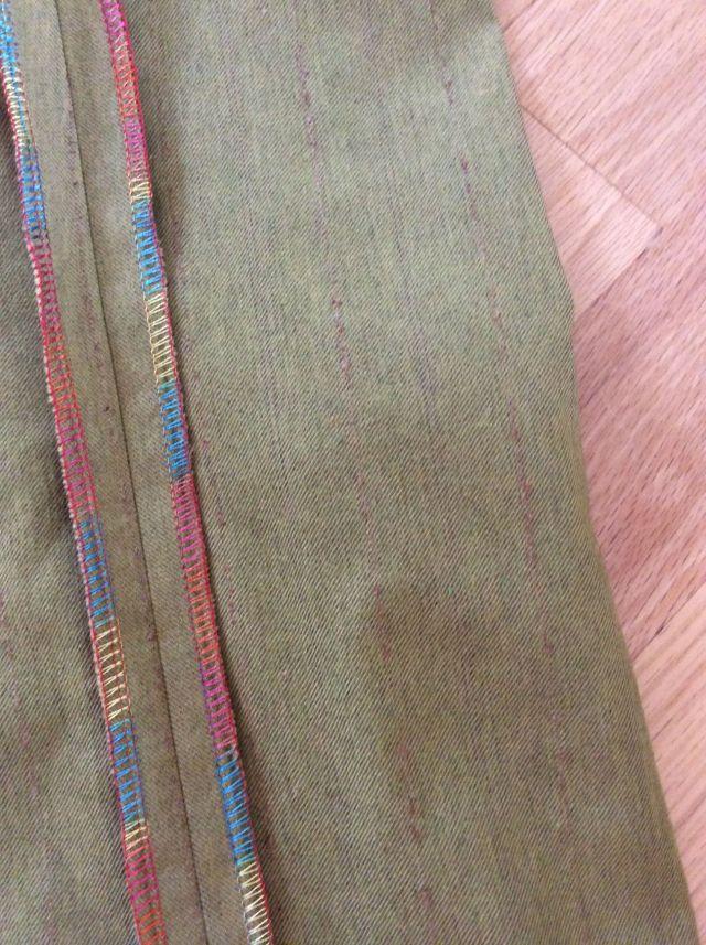 Close up of finished seam and slubbed fabric.