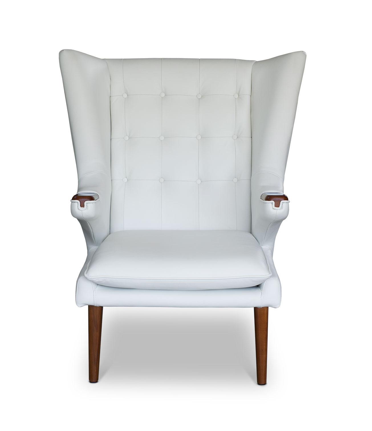 white leather wingback chair ikea snille armrest ear lounge neuerraum