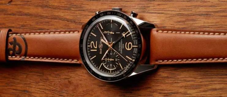 Bell&Ross BR 126 Sport Heritage GMT, Leder-Armband mit Heissprägung