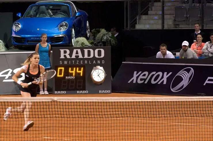 Rado ist offizieller Zeitnehmer des Porsche Tennis Grand Prix 2015
