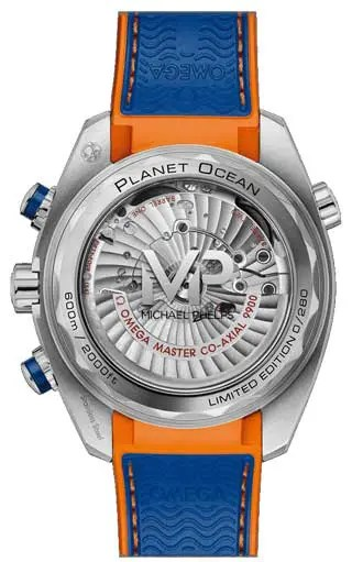 Im Omega Online-Shop Omega Seamaster Planet Ocean Michael Phelps Limited Edition Rückseite