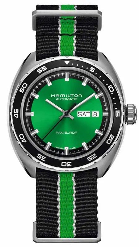 Hamilton Pan Europ Green Edition mit Natoband