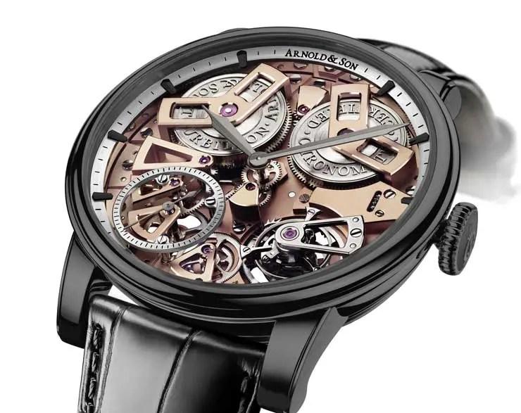 """Tourbillon Chronometer No. 36 - Gunmetal Sandgestrahltes Edelstahlgehäuse mit dunkelgrauer DLC-Beschichtung (""""Gunmetal""""), Durchmesser: 46 mm. © Arnold & Son"""