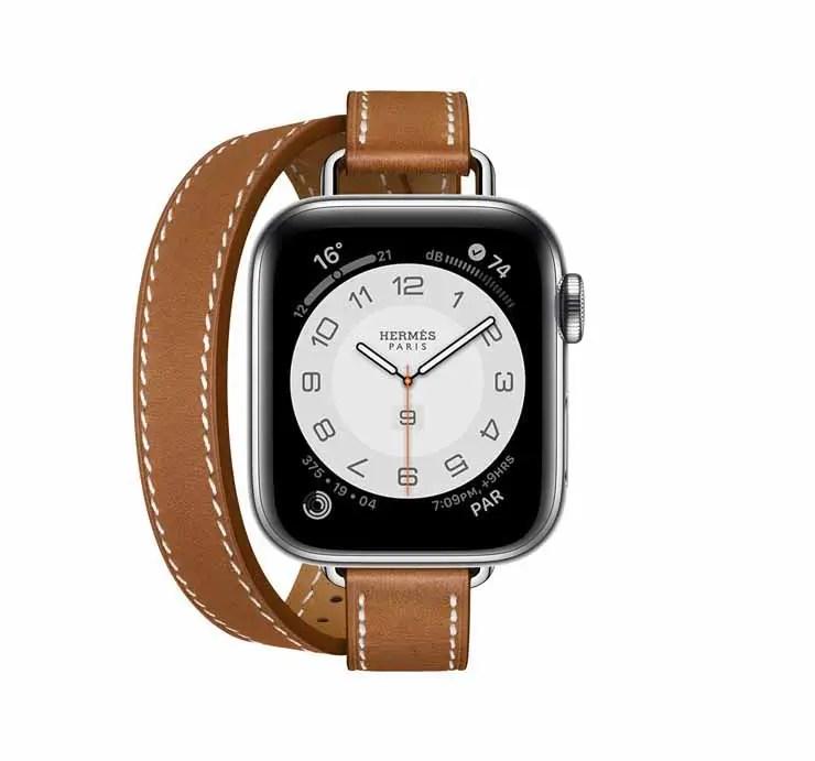Apple Watch Hermes Series 6 40mm Fauve Barenia Calfskin Double Tour Attelage Strap 2.