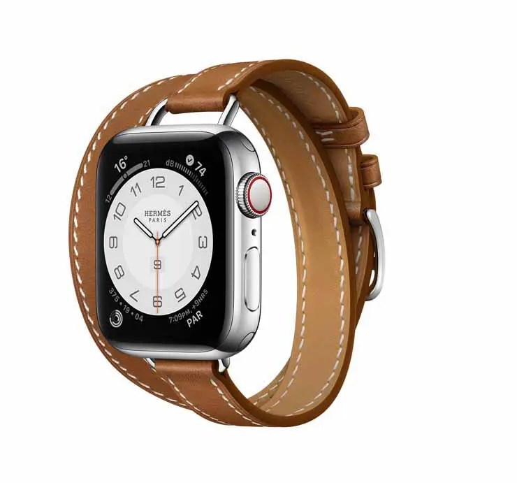Apple Watch Hermes Series 6 40mm Fauve Barenia Calfskin Double Tour Attelage Strap 3.