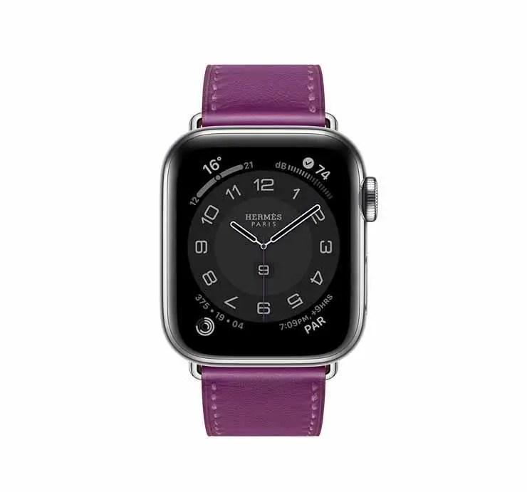 Apple Watch Hermes Series 6 44mm Anemone Swift Calfskin Simple Tour Strap.