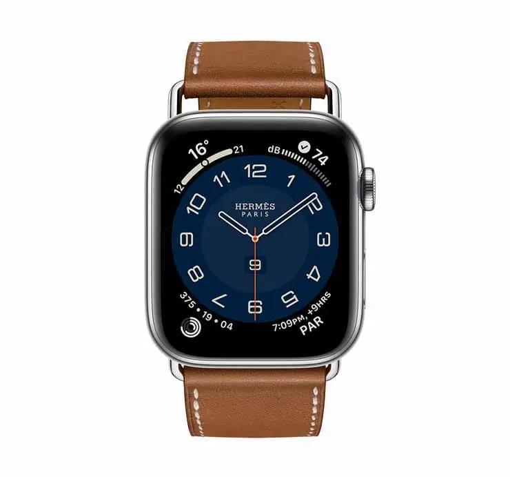 Apple Watch Hermes Series 6 44mm Fauve Barenia Calfskin Simple Tour Attelage Strap 3.