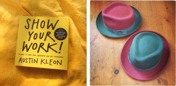 Austin Kleon Handbuch und Tochter Dido zeigt ihre Arbeit.